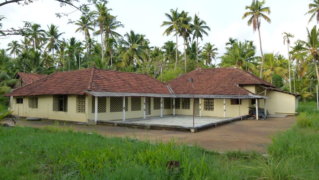 Plantación de cocoteros y casa rural en los Backwaters