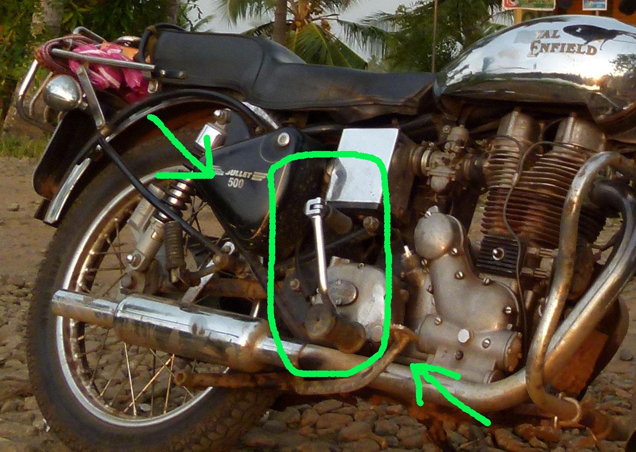 Viaje en motocicleta con palanca de arranque